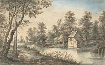 Drawing - Wooded Landscape With A House Beside A River by Lucas van Uden