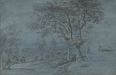 Drawing - Wooded Landscape With A House By A River by Lucas van Uden