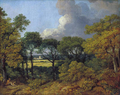 United Kingdom Painting - Wooded Landscape With A Peasant Resting by Thomas Gainsborough