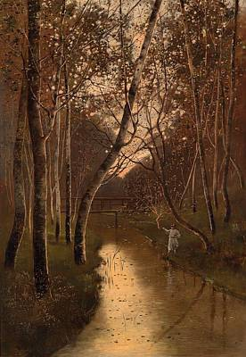 Fishing Pole Painting - Wooded Landscape With Angler On The Riverside by Mountain Dreams