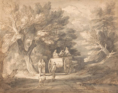 Drawing - Wooded Landscape With Country Cart And Figures Walking Down A Lane by Thomas Gainsborough