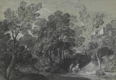 Drawing - Wooded Landscape With Figures And Houses On The Hill by Thomas Gainsborough