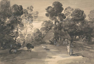 Drawing - Wooded Landscape With Figures, Cottage And Cow by Thomas Gainsborough