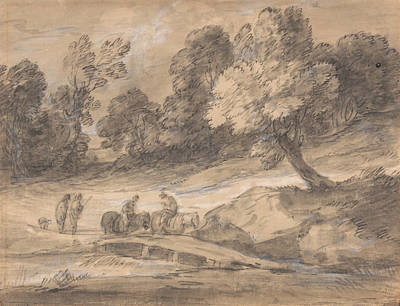 Drawing - Wooded Landscape With Figures On Horseback Crossing A Bridge by Thomas Gainsborough