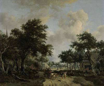 Painting - Wooded Landscape With Merrymakers In A Cart, Meindert Hobbema, C. 1665 by Celestial Images