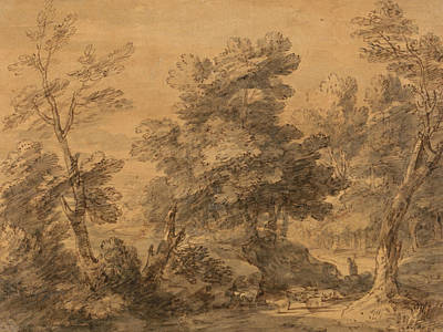 Shepherd Drawing - Wooded Landscape With Shepherd And Sheep by Thomas Gainsborough