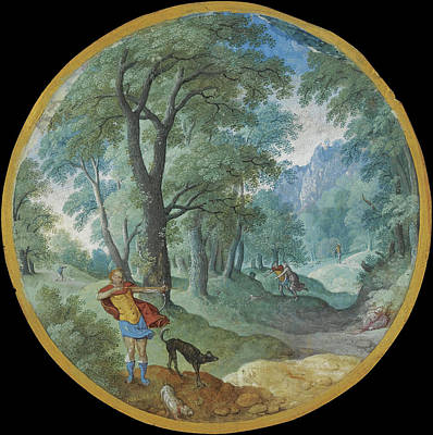 Buy Dog Art Drawing - Wooded Landscape With Silvio And Dorinda by Hans Bol