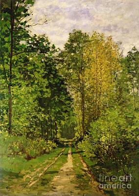Tree Lines Painting - Wooded Path by Claude Monet