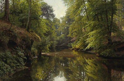 Painting - Wooded River Landscape by Peder Monsted
