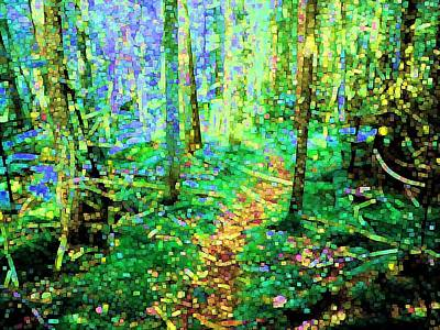 Modern Digital Art - Wooded Trail by Dave Martsolf
