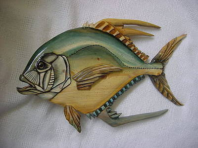 Pompano Mixed Media - Wooden African Pompano Number 2 by Lisa Ruggiero