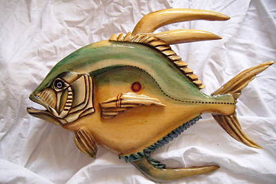 Dryriver Painting - Wooden African Pompano Number Three by Lisa Ruggiero