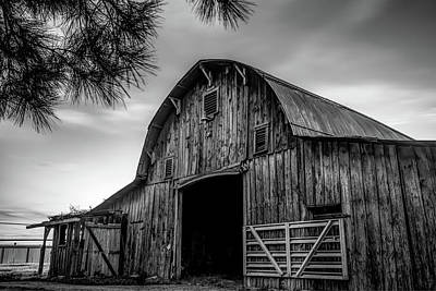 Photograph - Wooden Barn At Dusk - Black And White by Gregory Ballos