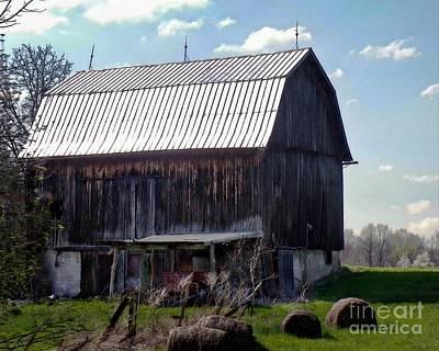 Moody Trees - Wooden Barn By The Hayfield by Elizabeth Duggan