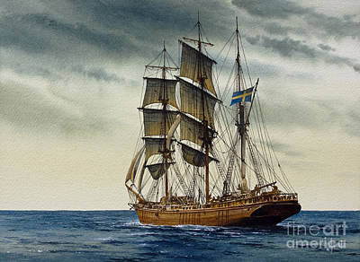 Wooden Barque Under Sail Print by James Williamson