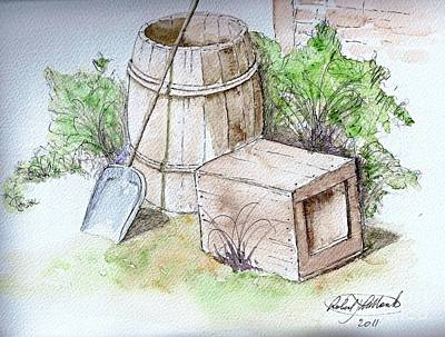 Painting - Wooden Barrel And Crate by Robert Monk