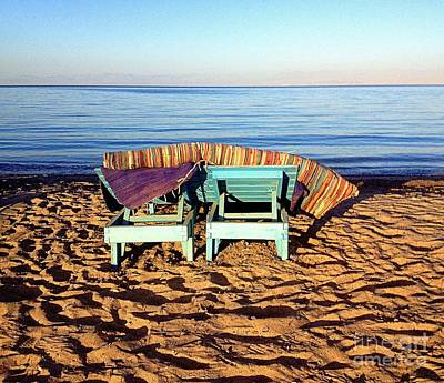 Most Sold Photograph - Wooden Beach Chairs by Noa Yerushalmi