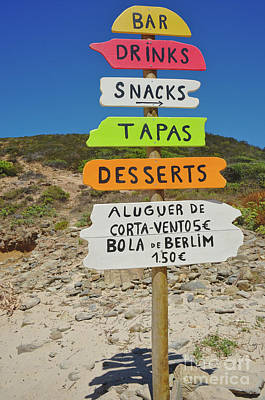 Snack Bar Photograph - Wooden Beach Sign by Angelo DeVal