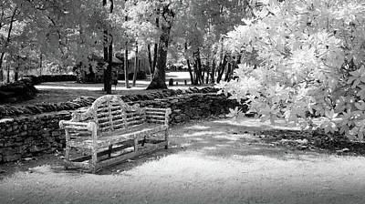 Photograph - Wooden Bench And Stone Wall by James Barber