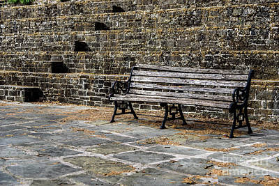 Photograph - Wooden Bench In Front Of Stone Stairs In The Zagori, Greece by Global Light Photography - Nicole Leffer