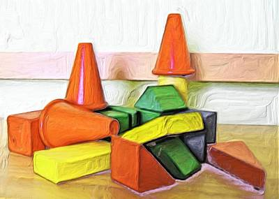 Blocks Painting - Wooden Blocks by Carla G Art Nitkey