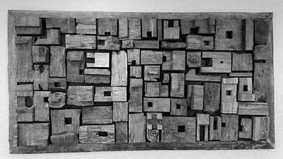 Photograph - Wooden Blocks Framed B W by Rob Hans