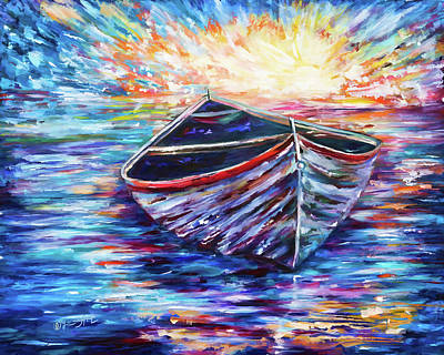 Owens River Painting - Wooden Boat At Sunrise - 2 by Art OLena