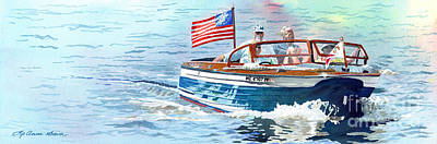 Painting - Wooden Boat Blues by LeAnne Sowa