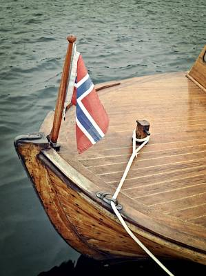 Photograph - Wooden Boat With Norwegian Flag by Michelle Calkins