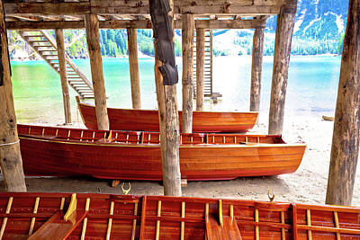 Photograph - Wooden Boats Under Boat House On Braies Lake by Brch Photography
