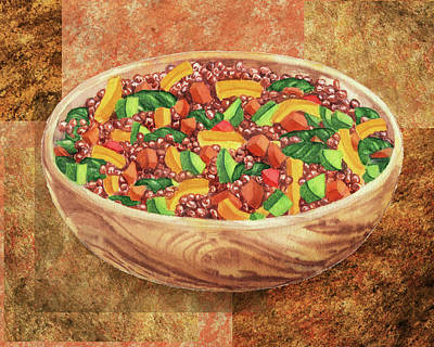 Painting - Wooden Bowl With Lentils And Veggies Watercolor  by Irina Sztukowski