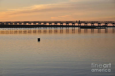 Silhouette Photograph - Wooden Bridge At Sunset In Quinta Do Lago by Angelo DeVal