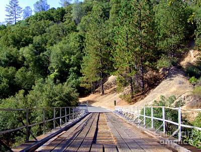 Wooden Bridge Over Deep Gorge Print by Mary Deal