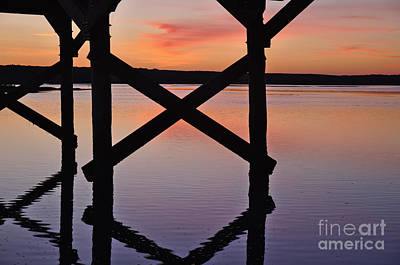 Wooden Bridge Silhouette At Dusk Art Print