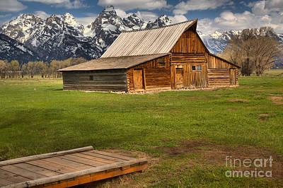 Wooden Bridge To The Wooden Barn Art Print by Adam Jewell