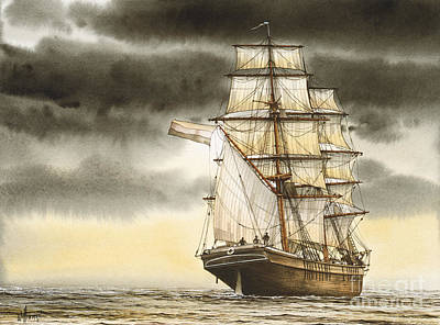 Wooden Brig Under Sail Art Print by James Williamson