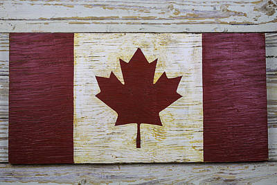Maple Leaf Art Photograph - Wooden Canadian Flag by Garry Gay