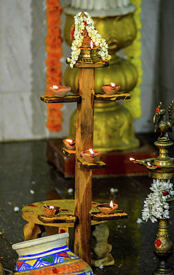 Wooden Candle Stand Art Print by Srinivas Rao