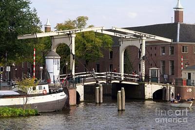 Wooden Cantilever Bridge Along The Amstel River. Amsterdam. Netherlands. Europe Art Print by Bernard Jaubert