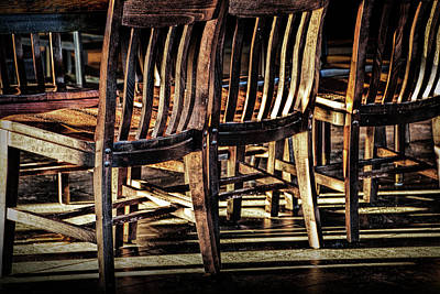 Photograph - Wooden Chair Patterns Of Light And Shadow by Randall Nyhof