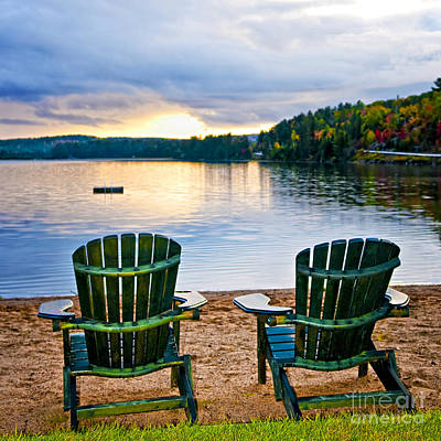 adirondack chairs on beach. Adirondack Chair Photograph - Wooden Chairs At Sunset On Beach By Elena Elisseeva S