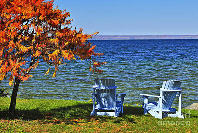 Relaxation Photograph - Wooden Chairs On Autumn Lake by Elena Elisseeva