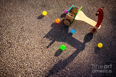 Photograph - Wooden Childish Bicycle On Playground by Anna Om