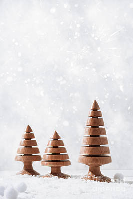 Snow Scene Photograph - Wooden Christmas Tree Decorations by Amanda Elwell