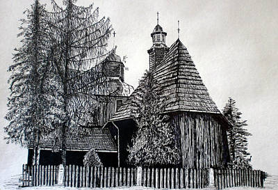 Fence Drawing - Wooden Church by Maria Woithofer