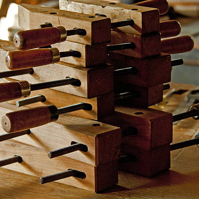Wooden Clamps Art Print by Wilma  Birdwell