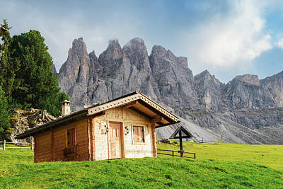 Photograph - Wooden Cottage Overlooking The Impressive Dolomites by Alexandre Rotenberg