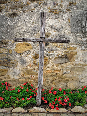 Photograph - Wooden Cross At Espada Mission  by David and Carol Kelly