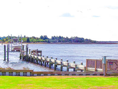 Swansboro Painting - Wooden Dock Leading Into Water 3 by Lanjee Chee