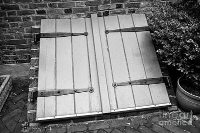 Elfreths Alley Photograph - wooden door access to basement in elfreths alley in the old city of Philadelphia USA by Joe Fox